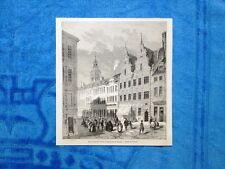 Gravure Année 1862 - Rue de marché d'Amac et maison dite de Divecke (Danemark)
