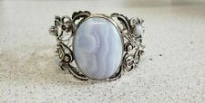51.8mm Sterling Silver Cuff Bangle Natural Blue Lace Agate Amethyst Cabochons