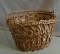 BIKE  BICYCLE WICKER willow SHOPPING PICNIC BASKET AND HANDLE hand made