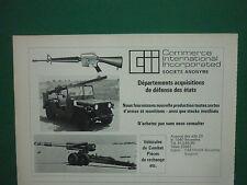 2/78 PUB COMMERCE INTERNATIONAL GROUP COLT M16 JEEP ARMES MUNITIONS FRENCH AD