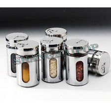 Stainless Steel Glass Spice Shaker Jar 3 Size Adjustable Top Herbs Salt Pepper