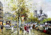 Paris Street Scene Painting by Antoine Blanchard Art Reproduction