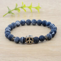 8mm Fashion Women Natural Stone Beads Peace Logo Pendant Charm Men Bracelets