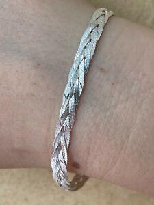 Solid 925 Sterling Silver Ladies 6mm Twisted Braided Herringbone Bracelet ITALY