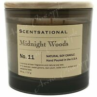 Scentsational Natural Soy Candle 26oz Triple Wick Wood Lid No. 11 Midnight Woods