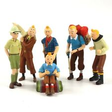 6pcs/set The Adventures of Tintin Toys PVC Cartoon Tin Tin Mini Figure Dolls