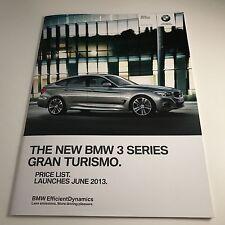 BMW 3 SERIES GRAN TURISMO - BROCHURE PRICE LIST 2013