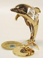 3106 Gold Delfin Dolphin Swarovski Steine Kristall 24Karat Crystal 8cm Delphin