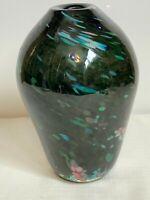 """Murano Glass Vase Multi Color Confetti Hand Blown Art Glass Vase Italy 9"""""""