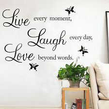 Removable Art Family Life Lauge Love Wall Quote Butterfly Stickers Bedroom Vinyl
