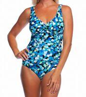 Maxine Of Hollywood Women Swimwear Blue Size 8 Shirred V-Neck One Piece $130 184