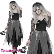 Ladies Zombie Graveyard Corpse Bride Costume Womens Horror Halloween Fancy Dress