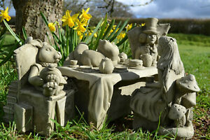 Alice in Wonderland Tea Party Stone Garden Statue Set