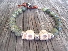 Men's Unisex Skull Green Jasper Bead Leather Wrap Beaded Surfer Bracelet