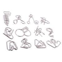 12 pièces anneau chinois iq métal fil puzzle casse-tête magique