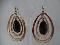 """Pierced 2 3/4"""" layered teardrop black stone earrings"""