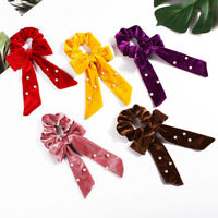 Velvet Scrunchie Streamer w/Pearl Elastic Hair Band Bow Tie Hair Rope Ponytail B
