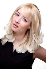 Perücke: NATÜRLICHER Blond-Mix HELLE GEWELLTE SPITZEN halblang 45 cm 3019-27T613