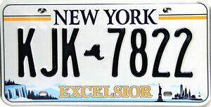 New York  Excelsior License Plate, Nummernschild USA KJK 7822 Originalbild