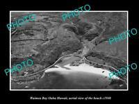 OLD POSTCARD SIZE PHOTO WAIMEA BAY OAHU HAWAII, AERIAL VIEW OF THE BEACH c1940