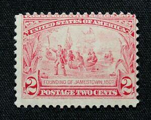 US Stamp Scott #329 Founding of Jamestown 2c 1907 MH GR04