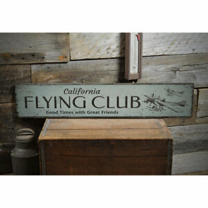 Flying Club Novelty Distressed Sign, Personalized Wood Sign