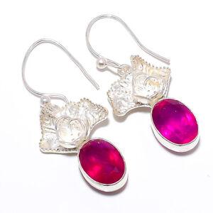 "Thai Ruby Gemstone 925 Sterling Silver Handmade Earring Jewelry 1.85"" M157"