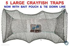 4 Large Drft Crayfish Traps Line Live Bait Lobster Pot Prawn Crab Keep Drop Net