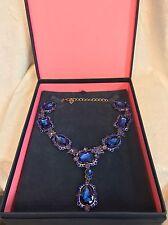 NEW IN BOX OSCAR DE LA RENTA Russian Gold-Tone BLUE PURPLE STONES Necklace
