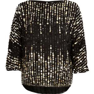 Ex River Island Sequin Embellished Black Gold 3/4 Sleeve Top Size XS - L