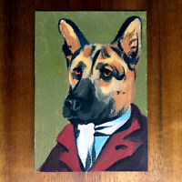 Original painting ACEO hand painted OOAK signed classic art イヌ dog