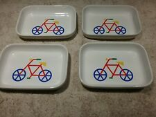 4 Vintage Pfaltzgraff American Airlines Ceramic Peanut Dishes W/Bicycle Design