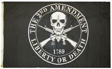 2nd Amendment Liberty or Death 1789 Skull 100D Woven Poly Nylon 3x5 3'x5' Flag