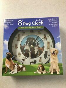 "8"" Barking Dog Clock 12 Dogs Wall Desk Mark Feldstein"