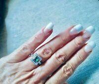 Antique Art Deco Vintage Emerald & Diamond Halo Solid Ring 14K White Gold Finish