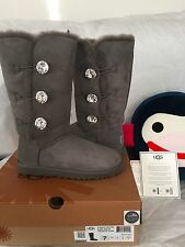 NEW! UGG EXCLUSIVE BAILEY BUTTON BLING TRIPLET CHARCOAL BOOT US 7/EU 38/UK 5.5