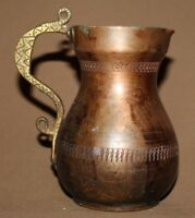 VINTAGE HAND MADE COPPER JUG WITH BRASS HANDLE