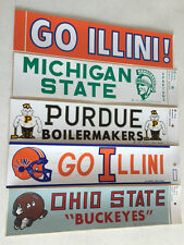 "Vintage "" Go Illini  with Football Helmet ""  Bumper Sticker  "" 4 left """