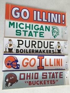 "Vintage  Orange "" Go Illini  "" Bumper Sticker ( 3 Left )"