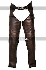 Vintage Brown Classic Motorcycle Horse Riding Unisex Leather Chaps Mens Womens