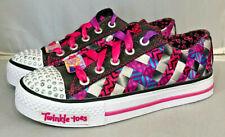 Girls Skechers Twinkle Toes Shuffle Black/Multi Size 1.0Y