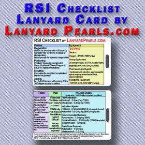 RSI Intubation Checklist Lanyard Badge Card