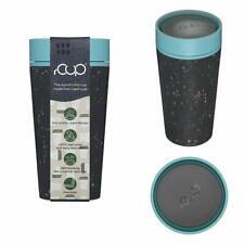 rCUP Black and Teal 227ml/ 8oz  recycled travel mug - no leaks, dishwasher safe