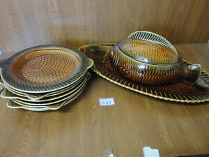 Complete 8 Place Set Sarreguemines Fish Plates / Platter & Tureen