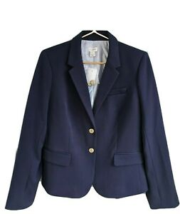 J Crew Schoolboy Womens 12 Large Blazer Jacket Navy Blue Lined J4548 Career Work