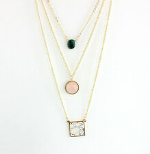 Gold Plated Turquoise Quartz Natural Stone Pendant Multilayer Necklace