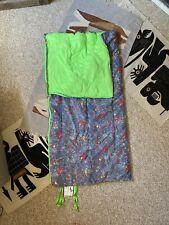 Vintage 80s Paint Splatter Denim Neon Green Sleeping Bag by Trail Blazer