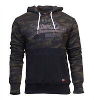 Superdry Mens Vintage Logo Panel Camo Hoodie Overhead Sweatshirt Black Khaki
