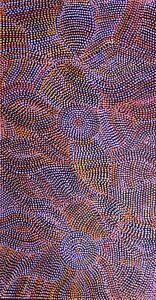 Joy Purvis Petyarre ,Authentic Aboriginal Art, Size; 100 x 50cm  Bush Yam Seeds.