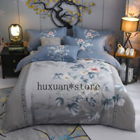 4Pcs Duvet Cover Set 100% Natural Cotton King Queen Size Colorful Flower Bedding